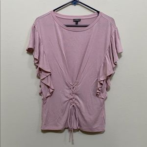 Express lavender tie front tee